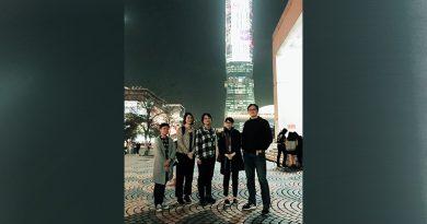 數媒系設計團隊1/6於台北101現場進行動畫測試